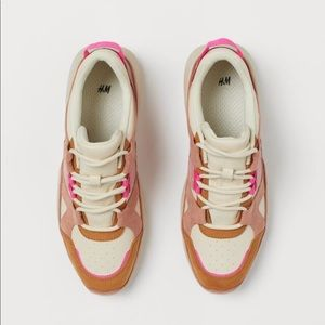 Adorable H&M Pink & Beige Faux Suede Trainers